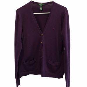 Ralph Lauren women's purple cardigan sweater xl
